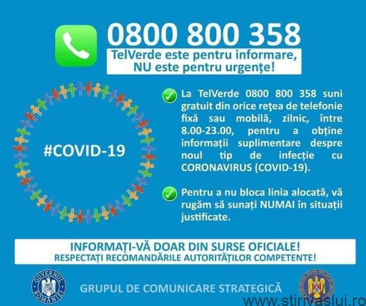 Prevenirea infectării cu virusul  COVID-19. TELVERDE pentru informații