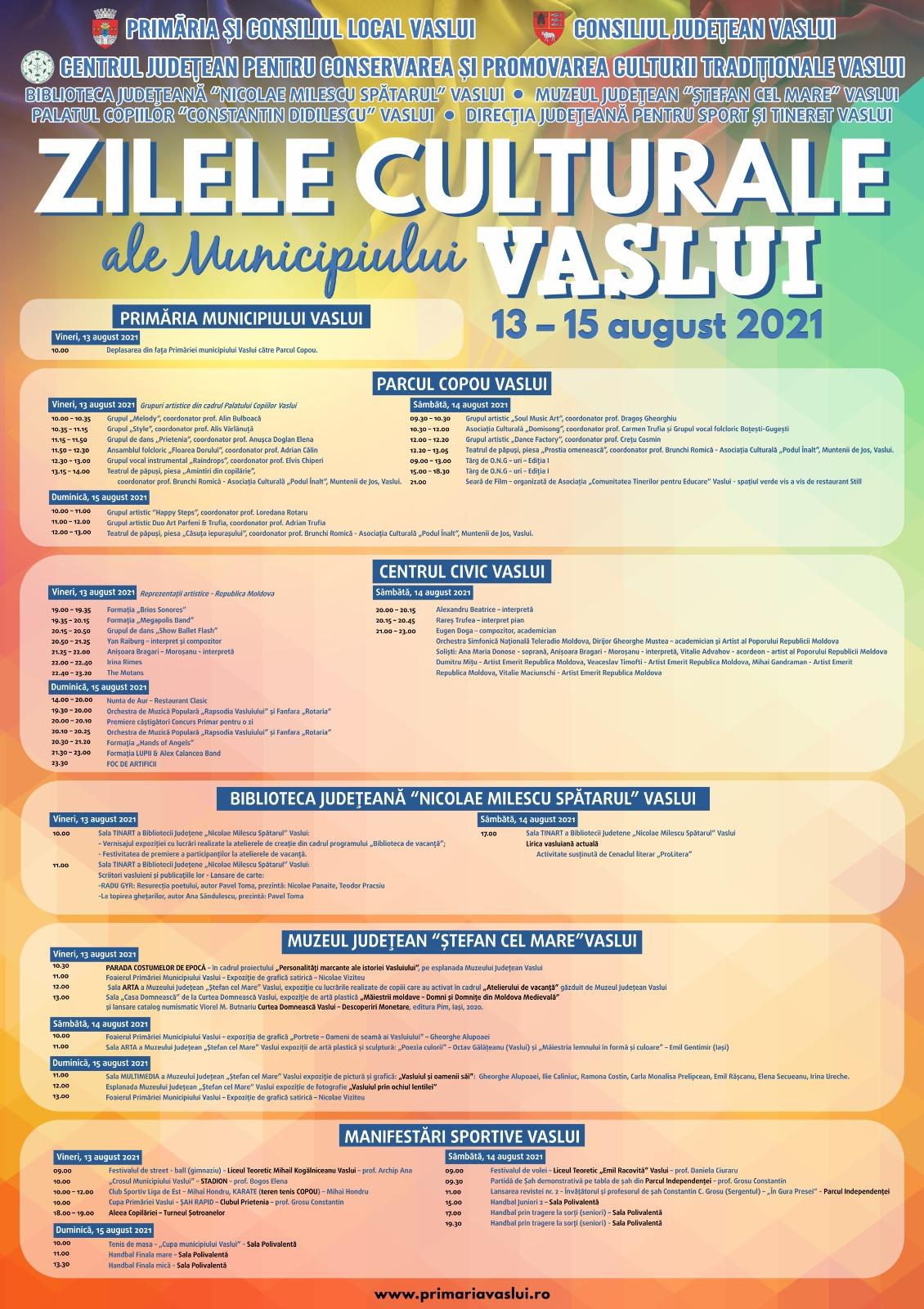Programul complet al Zilelor Culturale ale Vasluiului