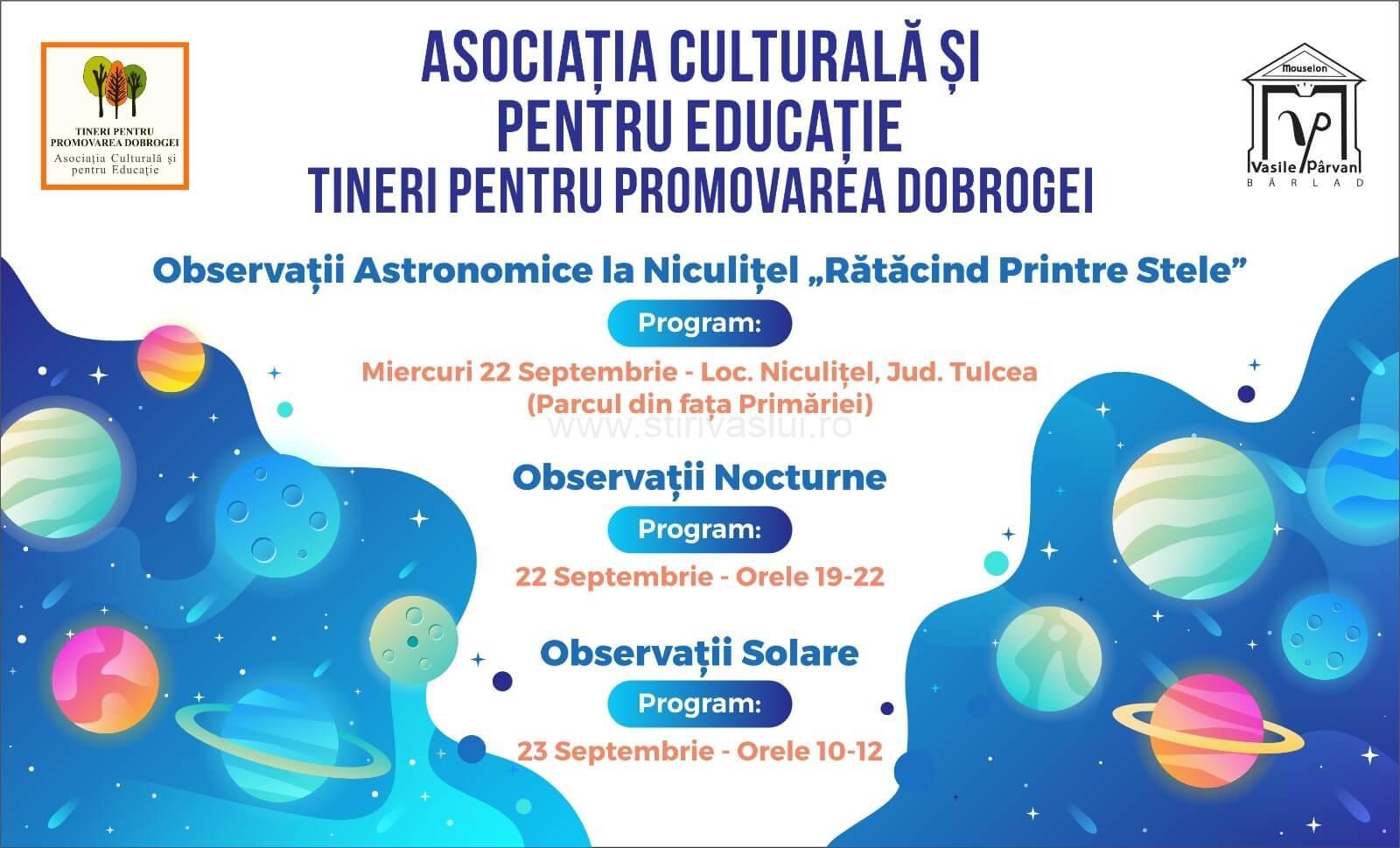 Observaţii astronomice cu telescopul de la Bârlad, în comuna Niculiţel